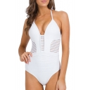 Translucent Striped Halter One Piece Swimwear