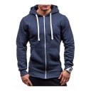 Long Sleeve Plain Zip Up Hoodie with Pockets