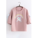 Rainbow Unicorn Printed Hollow Out Short Sleeve Tee