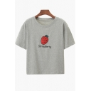 Strawberry Letter Embroidered Round Neck Short Sleeve Crop Tee