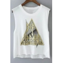 Triangle Letter Printed Round Neck Sleeveless Crop Tank