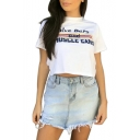 DRIVE BARS Letter Striped Printed Round Neck Short Sleeve Crop Tee