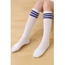 Contrast Striped Printed Skinny Cotton Knee-High Socks