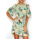Ruffle Hem Boat Neck Short Sleeve Tied Waist Floral Printed Mini A-Line Dress
