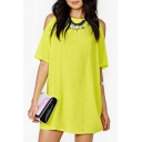 Cold Shoulder Round Neck Short Sleeve Plain Mini A-Line Chiffon Dress