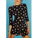 Pentagram Printed Round Neck 3/4 Length Sleeve Hollow Out Back Ruffle Detail Mini A-Line Dress