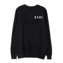 BABE Letter Printed Round Neck Long Sleeve Pullover Sweatshirt
