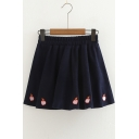 Cute Peach Embroidered Elastic Waist Mini A-Line Skirt