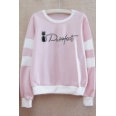 Cat Letter Contrast Striped Printed Round Neck Long Sleeve Sweatshirt