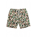 Fancy Fast Drying Khaki and Green Camouflage Bathing Trunks for Male with Mesh Lined Pockets