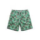 Stylish Quick Dry Men's Floral Green Swim Trunks without Liner with Lined Side Pockets