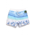 Cool White and Blue Elastic Sand Beach Printed Stretch Bathing Shorts Trunks for Men with Hook and Loop Pockets