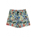 Colorful Drawcord Fast Drying Retro Pattern Swim Trunks with Mesh Brief Lining and Pockets