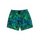Men's Green and Blue Chic Leaf Tropical Print Bathing Shorts with Mesh Brief and Pockets