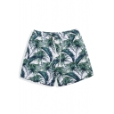 Fancy Men's White Tropical Leaf Print Swim Trunks with Mesh Liner and Pockets