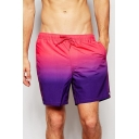 Classic Quick Dry Pink and Purple Ombre Colorblocked Swimming Shorts Trunks for Men with Pockets