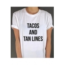 TACOS TAN LINES Letter Pattern Round Neck Short Sleeves Casual Tee