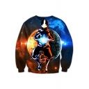 Galaxy Moon Cartoon Figure Pattern Long Sleeve Round Neck Unisex Pullover Sweatshirt