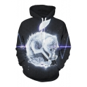 Cool White Wolf Pattern Long Sleeves Pullover Hoodie with Pocket