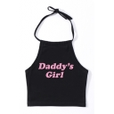 DADDY'S GIRL Letter Printed Halter Crop Cami