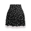 Polka Dot Printed Elastic Waist Mini Chiffon Skirt
