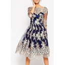 Floral Embroidered Mesh Insert Half Sleeve Midi A-Line Dress