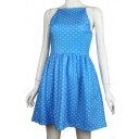Polka Dot Printed Spaghetti Straps Sleeveless Mini A-Line Dress