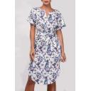 Floral Printed Short Sleeve V Neck Tied Waist Midi A-Line Dress