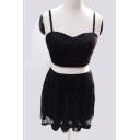 Chic Spaghetti Straps Cropped Top Crochet Lace Hem Mini Skirt Plain Co-ords