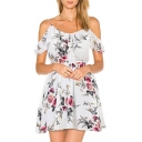 Off The Shoulder Short Sleeve Floral Printed Mini A-Line Dress