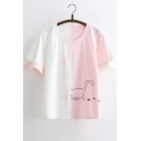 Color Block Cut Out Detail Cat Letter Printed Round Neck Short Sleeve Tee