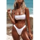 Sexy Plain Spaghetti Straps Sleeveless Crop Cami Bikini