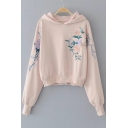 Stylish Floral Embroidered Long Sleeve Hoodie