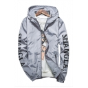 Character Letter Printed Long Sleeve Zip Up Hooded Coat