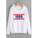 1998 Letter Graphic Printed Long Sleeve Hoodie
