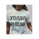 CATCH FLIGHTS Letter Printed Round Neck Short Sleeve Tee