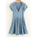 Floral Printed V-Neck Short Sleeve Open Back Dress
