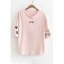 MEOW Letter Cat Embroidered Round Neck Short Sleeve Tee