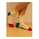 Lovely Color Block Fruit Printed Cotton Socks Ankle Sox