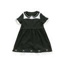 Star Embroidered Peter Pan Collar Color Block Short Sleeve Dress