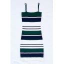 Color Block Striped Printed Spaghetti Straps Sleeveless Mini Cami Dress