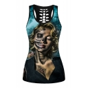 Character Printed Round Neck Sleeveless Hollow Out Back Tank