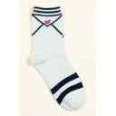 Contrast Striped Heart Printed Cottons Sports Socks