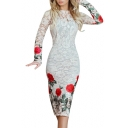 Floral Printed Round Neck Long Sleeve Midi Pencil Lace Dress