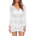 Hollow Out V Neck Long Sleeve Plain Beach Cover Up