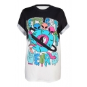 Color Block Alien Tai Chi Pattern Printed Round Neck Short Sleeve Tee