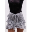 Ruffle Detail Plaid Printed Bow Tied Front Mini Asymmetric Skirt