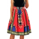 Folk Style Printed High Waist Midi A-Line Flare Skirt