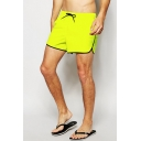 Mens Yellow Solid Elastic Drawstring Classic Swimming Trunks with Mesh Liner and Pockets