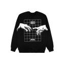 Hand Geometric Printed Round Neck Long Sleeve Sweatshirt